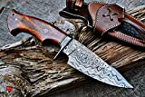Bobcat Knives Custom Handmade Hunting Knife Bowie Knife Damascus Steel Survival Knife EDC 10'' Overall Walnut Wood With Sheath Bigcat Roar