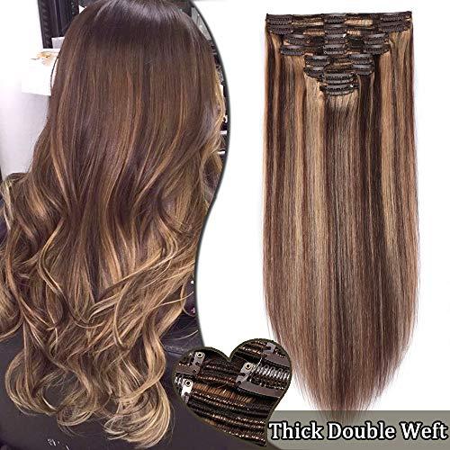 Elailite Double Wefts Extensiones de Clip de Pelo Natural Cabello Humano Remy - 35cm (120g) #4/27 Marrón Medio/Rubio Sombra -Muy Gruesas Mechas Mujer Clips Human Hair