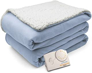 Biddeford Comfort Knit Natural Sherpa Electric Heated Blanket Full Parade Blue