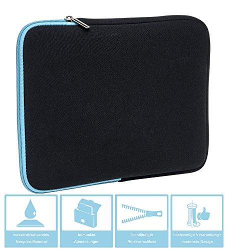 Slabo Tablet Tasche Schutzhülle für ALCATEL Plus 10 Hülle Etui Hülle Phablet aus Neopren – TÜRKIS/SCHWARZ