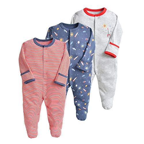 Baby Schlafstrampler 3er Pack Unisex Pyjamas Baumwolle Overalls Strampler mit 3-6 Monate