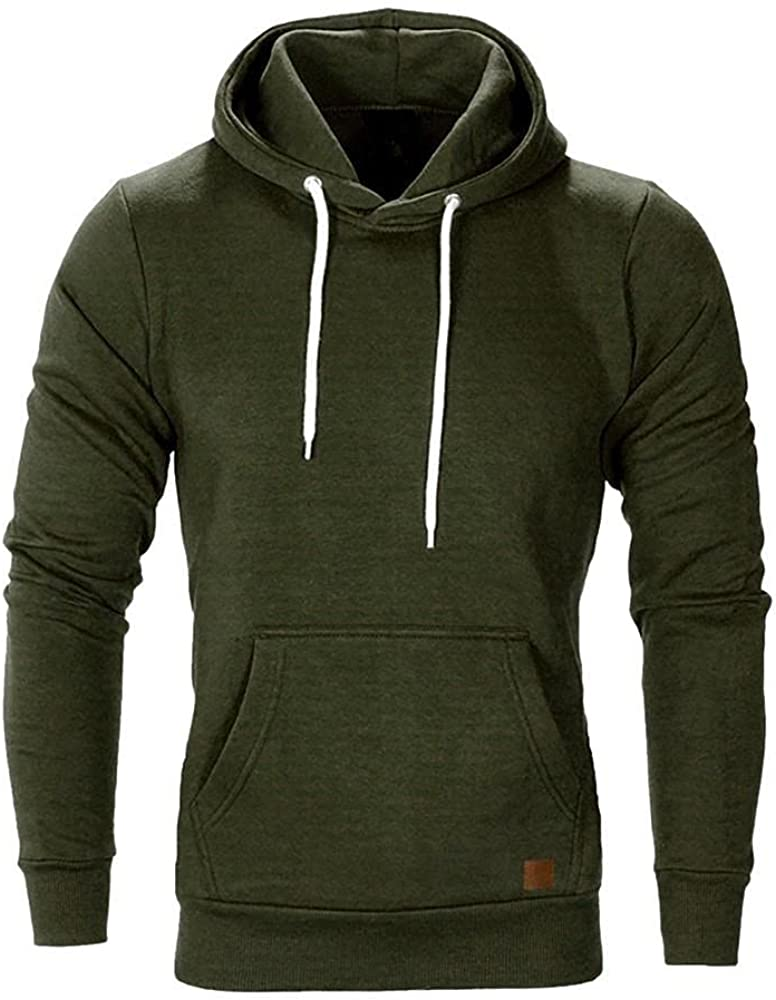 Aayomet Mens Hoodies Autumn Casual Solid Color Blend Fleece Long Sleeve Drawstring Slim Fit Tops Hoodies