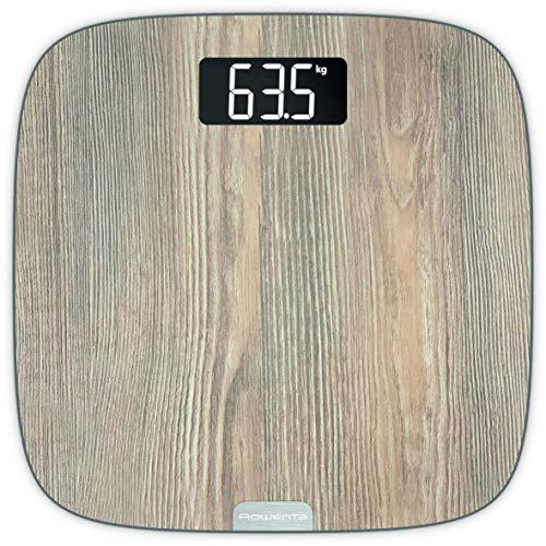 Rowenta Origin Light Wood BS1600 báscula de baño con pantalla grande, acabado madera, encendido automático, capacidad hasta 160 kg con graduación de 100 g, incluye 4 pilas AAA