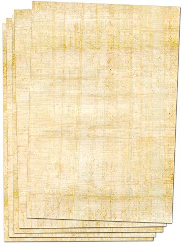 Vintage Papier Briefpapier 25 Blatt Din A4, beidseitig bedruckt Papyrus Fotopapier, Scrapbook Papier, Kalender zum selbstgestalten, Deko Karten, Lesezeichen Kinder selber gestalten, Retro Deko