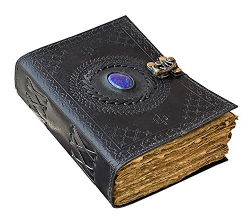 Vintage Leather Journal with Semi Precious Stone - Lock Closure, 200 Pages Antique Deckle Edge Paper - Book of Shadows, Grimoire Journal, Witch Spell Journal for Men and Women - 7 x 5 Inch Black