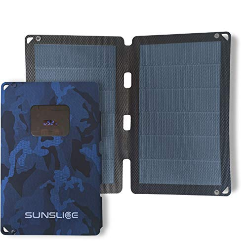 Sunslice] New generation 12W Flexible Solar Panel. Powerful and much lighter, Ultra Thin, unbreakable. for Smartphone, ideal for Camping and Hiking - Blue
