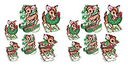 "Beistle 20054 Vintage Christmas Reindeer Cutouts 12 Piece, 10"" & 14"", Multicolored"