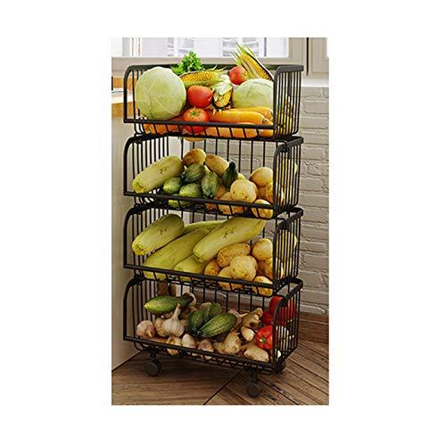 TWW Estantes de Cocina, cestas de Almacenamiento Multicapa de Piso a Techo para cestas de Almacenamiento de Frutas y Verduras, carros móviles para Almacenamiento,2