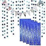 Paquete de 4 cortinas de telón de fondo azul y 1 paquete de banderines de bandera y 1 paquete de guirnalda de papel con purpurina en forma de estrella para cumpleaños, bodas, fiestas