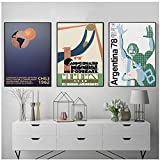 DLFALG Copa del mundo 1930 Uruguay FIFA Chile 1962 Argentina 1978 Póster de lienzo Fútbol Arte de la pared Imagen impresa Pintura Decoración para el hogar-40x60cmx3 Sin marco