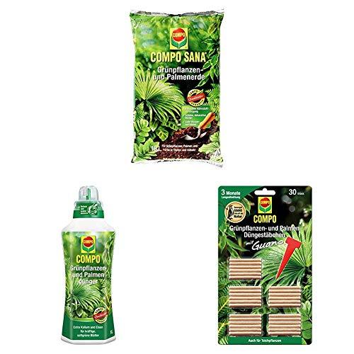 Compo Sana Grünpflanzen- und Palmenerde mit 8 Wochen Dünger, Kultursubstrat, 10 Liter + Grünpflanzen- und Palmendünger, 1 Liter + Grünpflanzen- und Palmen Düngestäbchen mit Guano, 30 Stück