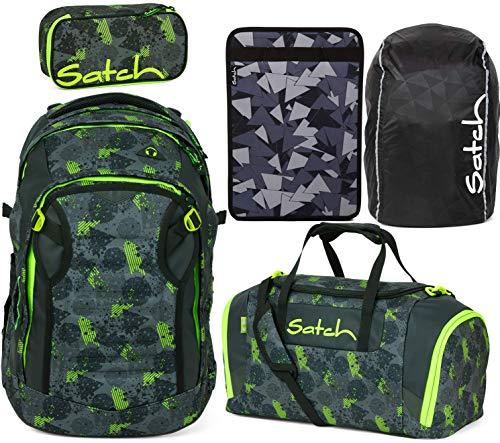 Satch Match Off Road 5er Set Schulrucksack, Sporttasche, Schlamperbox, Heftebox & Regencape Schwarz