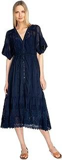 Women's Lace Water Midi Cotton Silk Dress, Sapphire Blue, X-Large