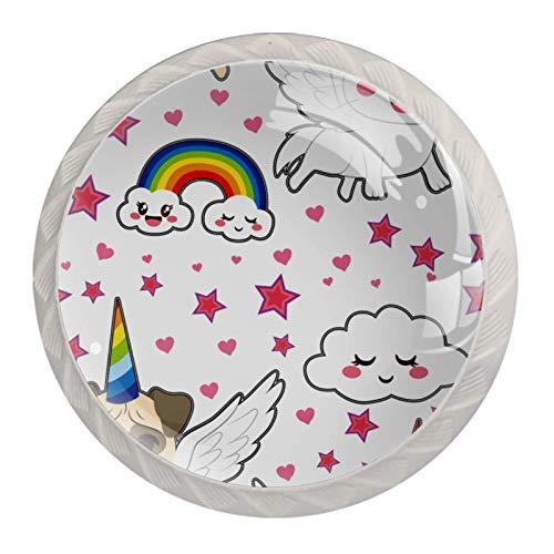 4 pomos de cristal colorido para armario, armario, cajón, tirador de puerta, diseño de carro, gato, unicornio, arcoíris con alas voladoras