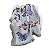 PHNAM Butterfly Throw Blanket with Fringe for Couch Bed Soft Decorative Cozy Woven Knit Warm Bed Throws Reversible for Chair, Sofa, Living Room, Bedroom (51x63 inches) (Butterfly)