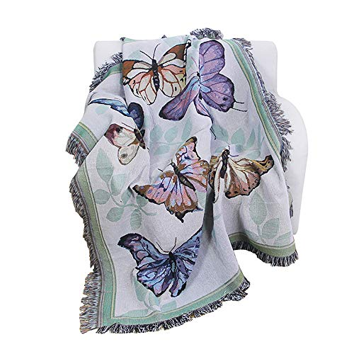 PHNAM Butterfly Throw Blanket with Fringe for Couch Bed Soft Decorative Cozy Cotton Woven Knit Warm Bed Throws Reversible for Chair, Sofa, Living Room, Bedroom (51x63 inches) (Butterfly)
