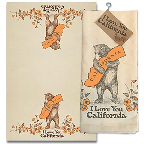 SF Mercantile I Love You California Bear & Poppy Cotton Tea Towel