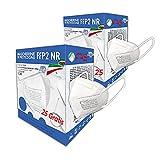 25 + 25PCS Mascarillas libres Mascarillas Blanco Mascarillas FFP2 Adultos Máscaras Certificado CE2841 Alta Eficiencia 5 Capas Envasadas Individualmente Ficiencia del filtro EFP ≥95% ≥95%
