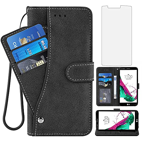 Asuwish Compatible with LG G4 Wallet Case and Tempered Glass Screen Protector Flip Cover Folio Purse Wrist Strap Credit Card Holder Stand Cell Accessories Phone Cases for LGG4 LG4 4G Women Men Black