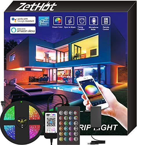 Zethot Striscia LED 5M, controllo APP con smart WiFi, Sincronizzazione musicale con cambio colore RGB, funziona con Assistant Google, Alexa, per camera, cucina, TV, feste. (5M)