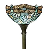 Tiffany Floor Lamp Torchiere Up Lighting W12H66 Sea Blue Stained Glass Crystal Bead Dragonfly Shade Antique Standing Iron Base 1E26 Foot Switch S147 WERFACTORY Lamps Home Office Decoration Gifts