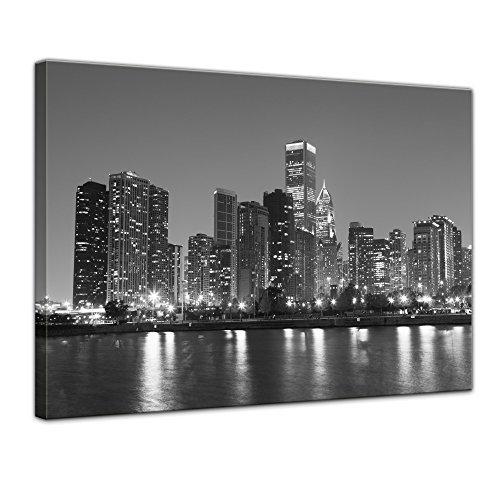 Bilderdepot24 Bild auf Leinwand | Chicago in 80x60 cm als Wandbild | Wand-deko Dekoration Wohnung modern Bilder | 202265