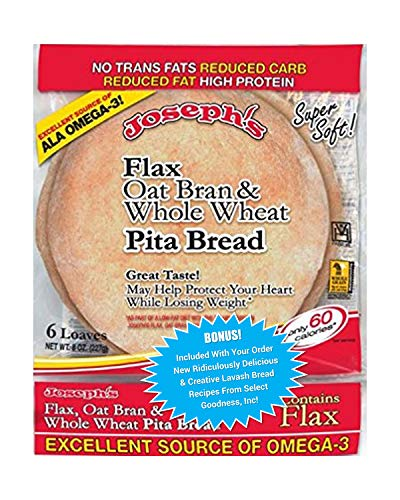 Joseph's Flax, Oat Bran and Whole Wheat Flour Pita Bread - Plus New Ridiculously Delicious Pita Bread Recipes! (1 Pack)