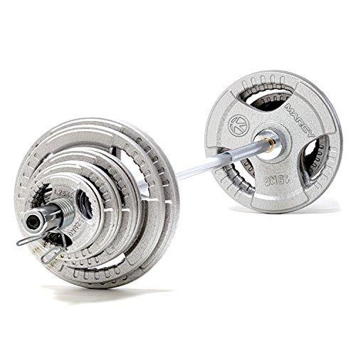 Marcy BS140 –Barra olímpica en acero macizo 213 cm - Certificada hasta 315 kg - Pesas de hierro fundido - Total 140 kg – Rodamiento casquillos de bronce. 🔥