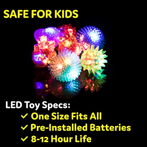 PartySticks Light Up Jelly Rings - 36pk LED Finger Lights Glow Party Favors for Kids, Flashing Glow Rings, Wearable Glow Jewelry and Glow in the Dark Party Supplies for Boys and Girls (Assorted)