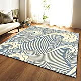 DRTWE Alfombra,Teppich,Simple Abstract Blue Spindrift Printed Velvet Area Rug For Living Room Large Size Anti-Skid Fluffy Shaggy Rug Bedroom Doorway Carpet Nursery Play Pad Carpet Runner,200 * 300