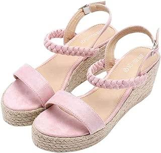 YYW Womens Wedeg Espadrille Ankle Wrap Buckle Sandals Open Toe Summer Espadrille Platform Sandal