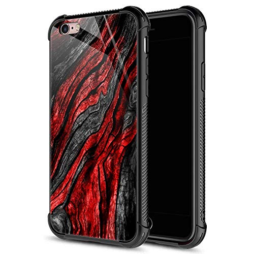 iPhone 6S Plus Case,9H Tempered Glass iPhone 6 Plus Cases for Boys Men, Black Red Wood Grain Pattern Design Shockproof Anti-Scratch Case for Apple iPhone 6/6S Plus 5.5 inch Wood Grain