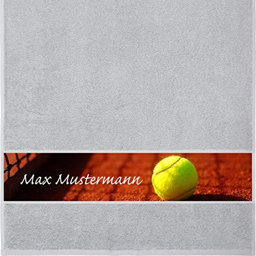 Manutextur Handtuch mit Namen - personalisiert - Motiv Sport - Tennis - viele Farben & Motive - Dusch-Handtuch - hellgrau - Größe 50x100 cm - persönliches Geschenk mit Wunsch-Motiv und Wunsch-Name