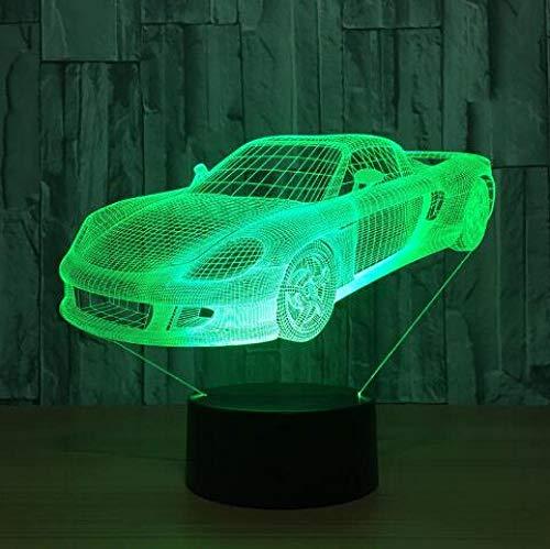 JJIEZZ Lámpara del Interruptor del Tacto del USB de la Forma del Tractor del Coche del Motor de la luz de la decoración 3D 7 Luz Colorida de la Noche-Coche 9_Cambio de 7 Colores
