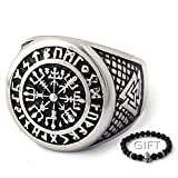 ENXICO Vegvisir The Viking Runic Compass Ring with Rune Circle and Double Valknut Symbol 316L Stainless Steel Norse Scandinavian Viking Jewelry (13)