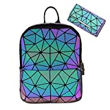 Hot One Cambios De Color Monederos y Bolsos Luminosos Geométricos Monedero Holográfico Monedero Reflectante Mochilas De Moda (5# Mochila No.3 + Billetera con Botones, M)