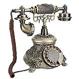 Teléfono vintage, teléfono con tocadiscos retro clásico de estilo europeo sin necesidad de volver a marcar con soporte de alimentación externa, teléfono de escritorio con botón de marcación antiguo