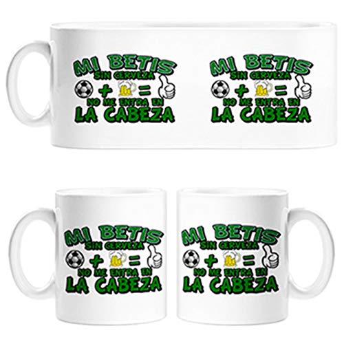 Diver Tazas Taza Frase mi Betis sin Cerveza no me entra en la Cabeza Frase para futboleros - Cerámica