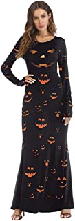 Halloween Costume Character Dress Up Pumpkin Light Long Sleeve Dress happyL (Color : Black, Size : S/M)