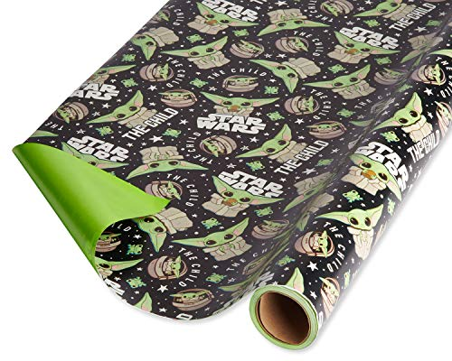 American Greetings Star Wars Mandalorian Wrapping Paper, The Child/Baby Yoda (1 Roll, 75 sq. ft.)