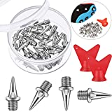Hotop 32 Pieces 1/2Inch?1/4Inch,3/8Inch Steel Spikes Track Shoe Spikes Replacements and Spike Wrench for Sports Running Track Shoes (White, 1/4 Inch)