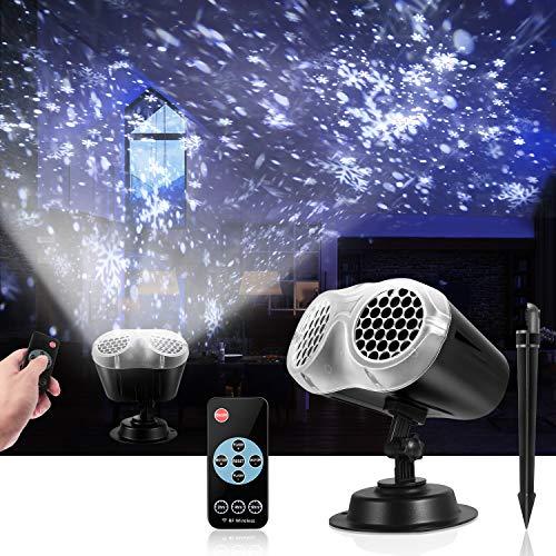 LED Projektionslampe, LED Schneeflocke Projektor Licht, Wasserdicht Schneefall Weihnachtsbeleuchtung Aussen LED Projektor Lichter für Außen und Innen Deko,Geburtstag Party, Weinachten und Feiertage
