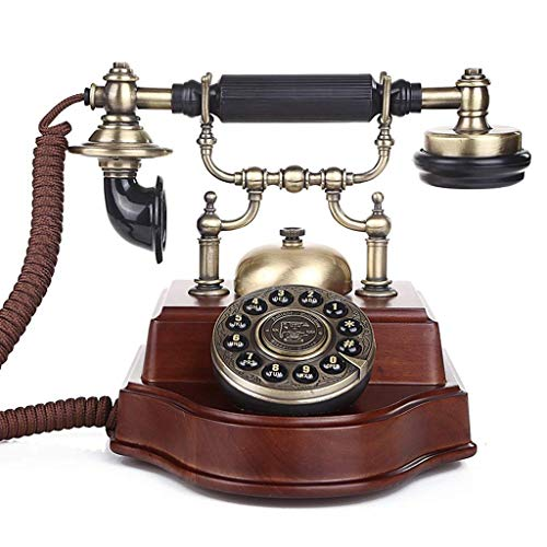 Telephone- Antique Vintage Solid Wood Classic Vintage Old Fashioned Rotary Dial Style Desk Table Home Office Coiled Cord Handset