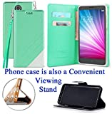 for 5' ZTE Prelude + Plus Maven 3 Overture 3 Case Phone Case 2-Tone Wallet Kick stand Pouch Pocket Hybrid Purse Grip Grained Screen Flip Cover (White Teal)