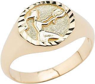 14K Yellow Gold Zodiac Men Women Unisex Jewelry Ring