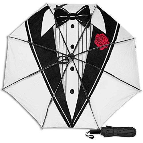 Tuxedo Cool Funnynovelty Manual vinilo triple paraguas protector solar protección UV paraguas a prueba de viento paraguas de viaje