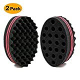 BEWAVE Big Holes Barber Hair Brush Sponge Dreads Locking Twist Afro Curl Coil Wave Hair Care Tool (2 Count)