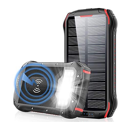 PowerBank 26800mAh Qi Wireless Ladegerät Solar Powerbank Schnelles Aufladen 4 Ausgang(3.1A USB+QI) +3 Eingängen (Mikro USB+Typ-C+Solar) 18 LED-Licht IP66 Wasserdicht Externer Akku für Handys