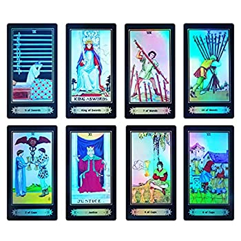 Tarot Cards Rider Waite Tarot Cards,78 Holographic Tarot Cards Deck Future Telling Game with Colorful Box and Guidebook