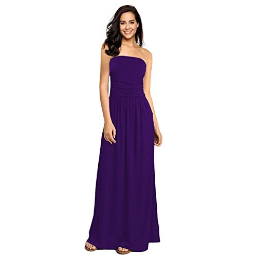 23243e1682b GloryStar Womens Strapless Ruched Casual Party Maxi Dress With Pocket